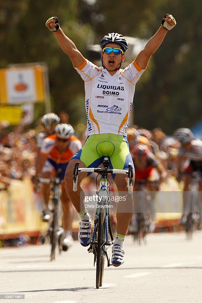 Peter Sagan of Slovakia, riding for Liquigas-Doimo celebrates as he crosses the finish line to win stage five of the Tour of California on May 20, 2010 in Bakersfield, California.