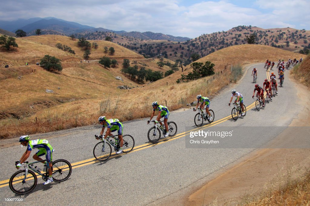Peter Sagan of Slovakia, riding for Liquigas-Doimo in the white best young rider jersey rides through the hills of stage five during the Tour of California on May 20, 2010 in Kern County, California.