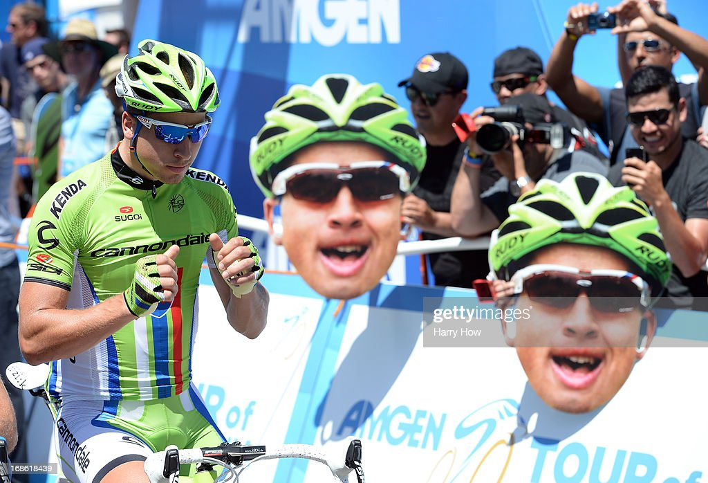 <a gi-track='captionPersonalityLinkClicked' href=/galleries/search?phrase=Peter+Sagan&family=editorial&specificpeople=4846179 ng-click='$event.stopPropagation()'>Peter Sagan</a> #51 of Slovakia riding for Orica Greenedge lines up at the start for Stage 1 of the Amgen Tour of California on May 12, 2013 in Escondido, California.