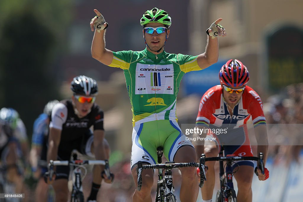 <a gi-track='captionPersonalityLinkClicked' href=/galleries/search?phrase=Peter+Sagan&family=editorial&specificpeople=4846179 ng-click='$event.stopPropagation()'>Peter Sagan</a> of Slovakia riding for the Cannondale Pro Cycling Team celebrates his victory over <a gi-track='captionPersonalityLinkClicked' href=/galleries/search?phrase=Thor+Hushovd&family=editorial&specificpeople=534471 ng-click='$event.stopPropagation()'>Thor Hushovd</a> (R) of Norway riding for the BMC Racing Team in second place and Danny Van Poppel (L) of the Netherlands riding for the Trek Factory Racing Team in third place in stage seven of the 2014 Amgen Tour of California from Santa Clarita to Pasadena on May 17, 2014 in Pasadena, California.