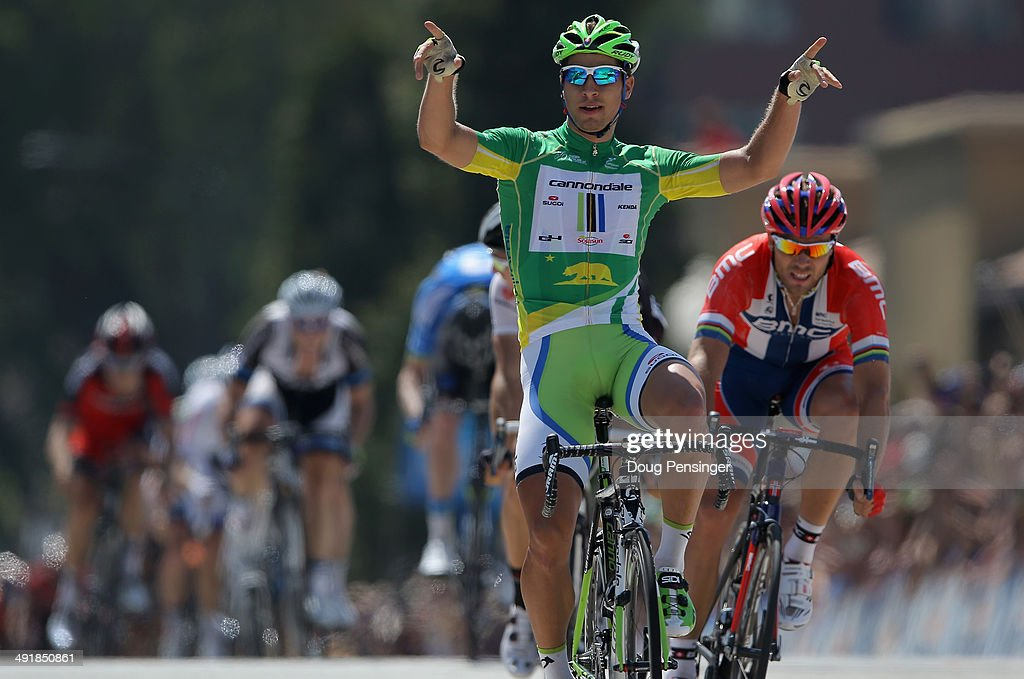 <a gi-track='captionPersonalityLinkClicked' href=/galleries/search?phrase=Peter+Sagan&family=editorial&specificpeople=4846179 ng-click='$event.stopPropagation()'>Peter Sagan</a> of Slovakia riding for the Cannondale Pro Cycling Team celebrates his victory in stage seven of the 2014 Amgen Tour of California from Santa Clarita to Pasadena on May 17, 2014 in Pasadena, California.