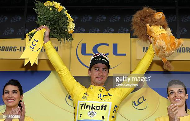 Peter Sagan of Slovakia riding for Tinkoff celebrates after winning stage two and taking the yellow leader's jersey during stage two of the 2016 Le...