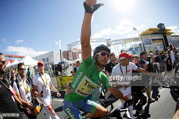 Peter Sagan of Slovakia riding for Tinkoff celebrates after winning stage eleven of the 2016 Le Tour de France a 1625km stage from Carcassonne to...
