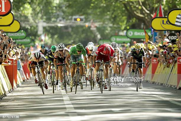 Peter Sagan of Slovakia riding for Tinkoff our sprints Alexander Kristoff of Norway riding for Team Katusha to win stage 16 of the 2016 Le Tour de...