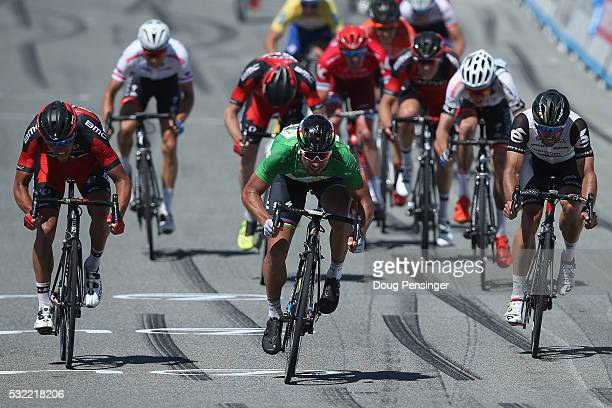 Peter Sagan of Slovakia riding for Tinkoff sprints to victory ahead of Greg Van Avermaet of Belgium riding for BMC Racing in second place and Nathan...