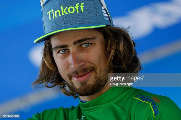 Peter Sagan of Slovakia riding for Tinkoff takes the podium after defending the green points leader's jersey in stage three of the 2016 Amgen Tour of...