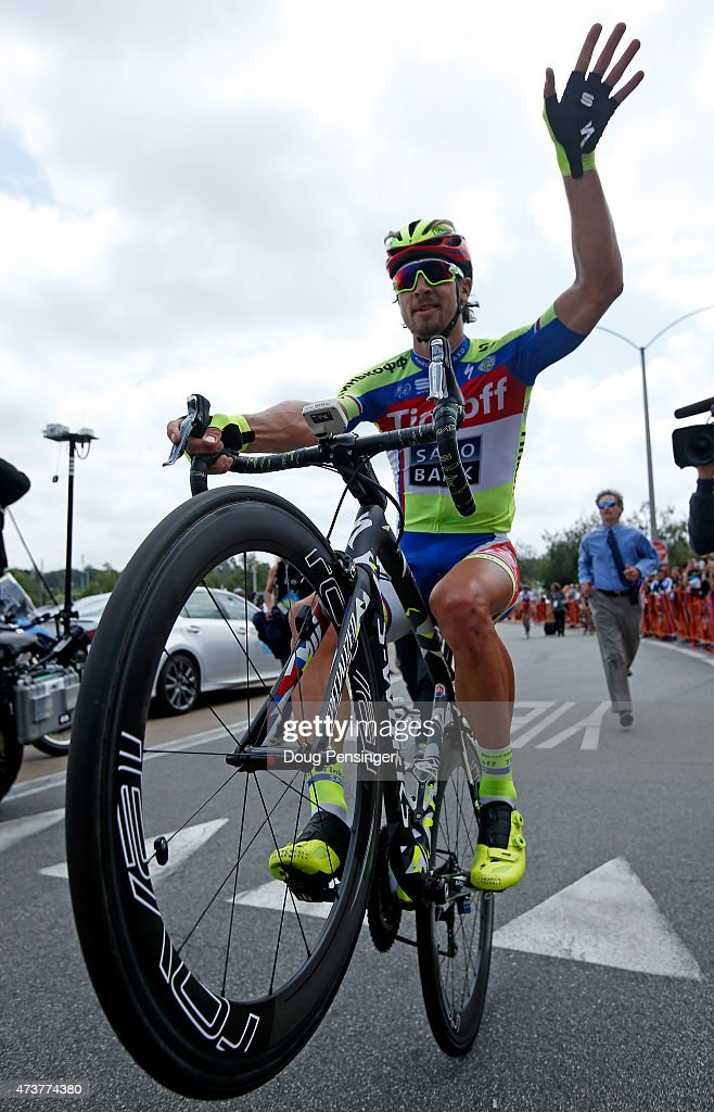 <a gi-track='captionPersonalityLinkClicked' href=/galleries/search?phrase=Peter+Sagan&family=editorial&specificpeople=4846179 ng-click='$event.stopPropagation()'>Peter Sagan</a> of Slovakia riding for Tinkoff-Saxo does a wheelie after finishing third in stage eight and winning the general classification of the 2015 Amgen Tour of California from Los Angeles to Pasadena on May 17, 2015 in Pasadena, California.