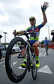 Peter Sagan of Slovakia riding for TinkoffSaxo does a wheelie after finishing third in stage eight and winning the general classification of the 2015...