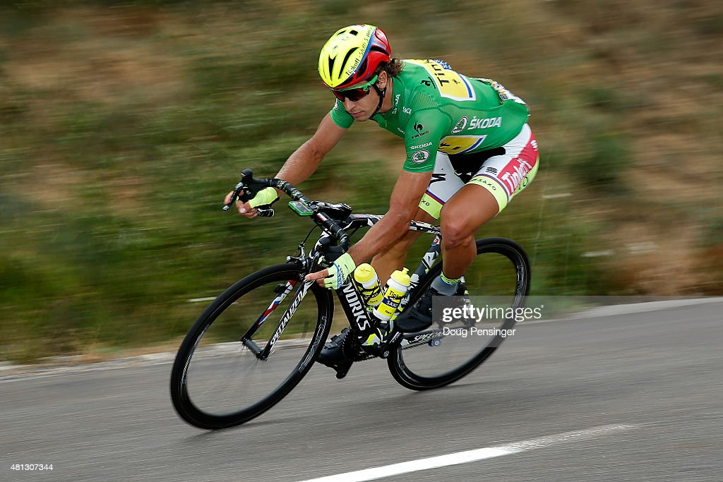 <a gi-track='captionPersonalityLinkClicked' href=/galleries/search?phrase=Peter+Sagan&family=editorial&specificpeople=4846179 ng-click='$event.stopPropagation()'>Peter Sagan</a> of Slovakia riding for Tinkoff-Saxo in the points leader green jersey descends the Col de la Croix de Bauzon as he rides in the breakaway and was named the most aggressive rider during stage 15 of the 2015 Tour de France from Mende to Valence on July 19, 2015 in La Souche, France.