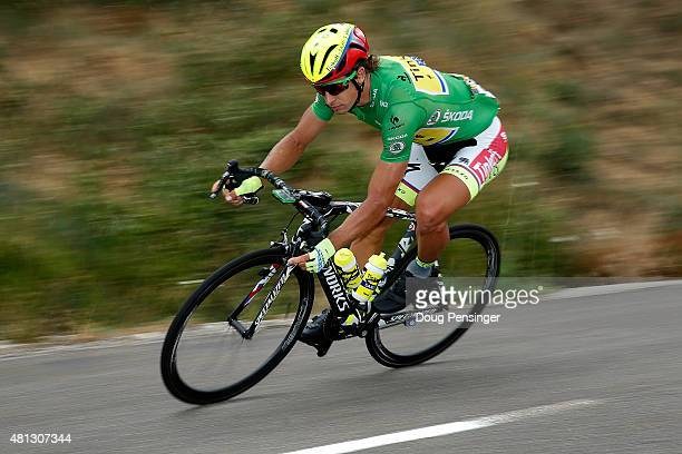 Peter Sagan of Slovakia riding for TinkoffSaxo in the points leader green jersey descends the Col de la Croix de Bauzon as he rides in the breakaway...
