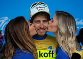 Peter Sagan of Slovakia riding for TinkoffSaxo is awarded the overall race leader yellow jersey after stage eight from Los Angeles to Pasadena as he...
