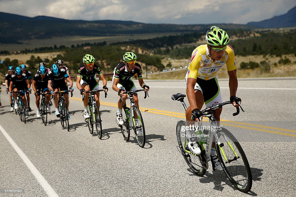 <a gi-track='captionPersonalityLinkClicked' href=/galleries/search?phrase=Peter+Sagan&family=editorial&specificpeople=4846179 ng-click='$event.stopPropagation()'>Peter Sagan</a> of Slovokia and Cannondale Pro Cycling (R) rides in the peloton during stage two of the 2013 USA Pro Cycling Challenge on August 20, 2013 in Breckenridge, Colorado.