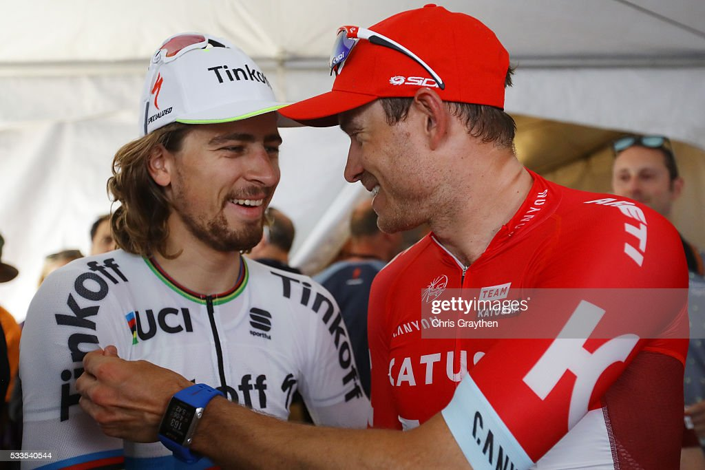 <a gi-track='captionPersonalityLinkClicked' href=/galleries/search?phrase=Peter+Sagan&family=editorial&specificpeople=4846179 ng-click='$event.stopPropagation()'>Peter Sagan</a> of Solvakia riding for Tinkoff talks with <a gi-track='captionPersonalityLinkClicked' href=/galleries/search?phrase=Alexander+Kristoff&family=editorial&specificpeople=6165249 ng-click='$event.stopPropagation()'>Alexander Kristoff</a> of Norway riding for Team Katusha following stage 8 of the Amgen Tour of California on May 22, 2016 in Sacramento, California.