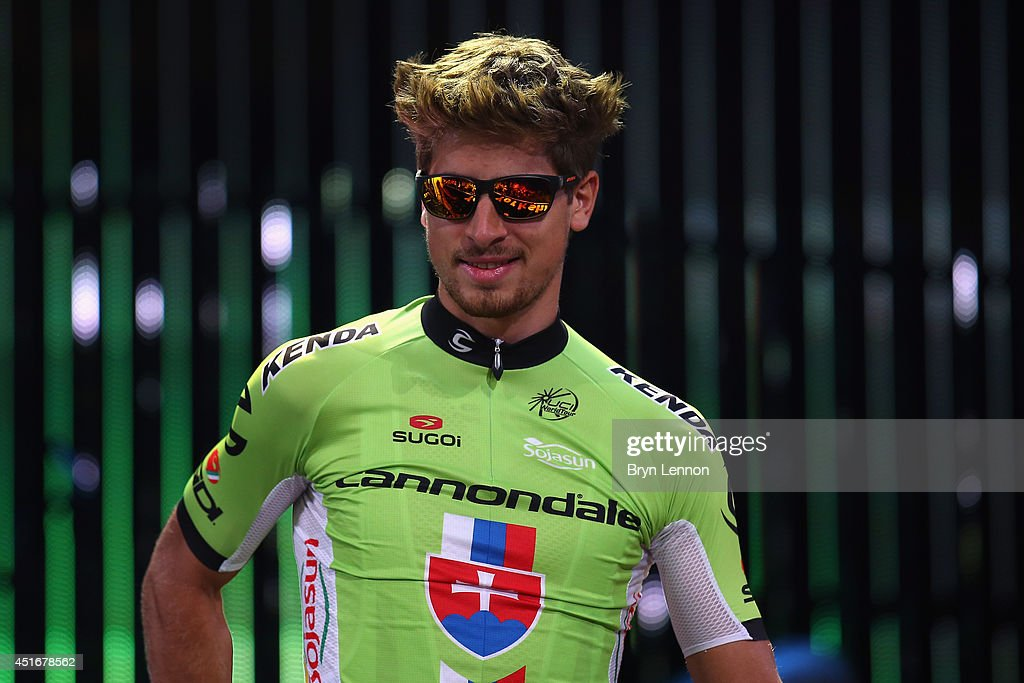 <a gi-track='captionPersonalityLinkClicked' href=/galleries/search?phrase=Peter+Sagan&family=editorial&specificpeople=4846179 ng-click='$event.stopPropagation()'>Peter Sagan</a> of the Czech Republic and Cannondale attends the 2014 Tour de France Team Presentation prior to the 2014 Le Tour de France Grand Depart on July 3, 2014 in Leeds, United Kingdom.