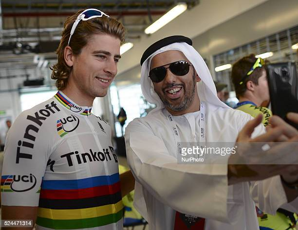 Peter Sagan pose for a selfy with his Emirati fan at the Formula One Yas Marina Circuit ahead of The Capital second stage of the 2015 Abu Dhabi Tour...