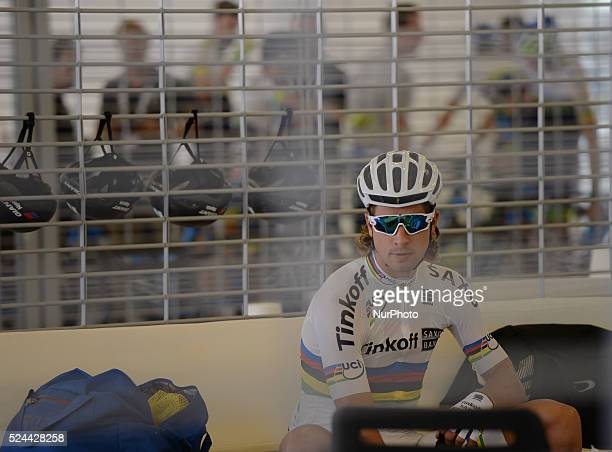 Peter Sagan prepares for the race at the Formula One Yas Marina Circuit ahead of The Capital second stage of the 2015 Abu Dhabi Tour the 129 km from...