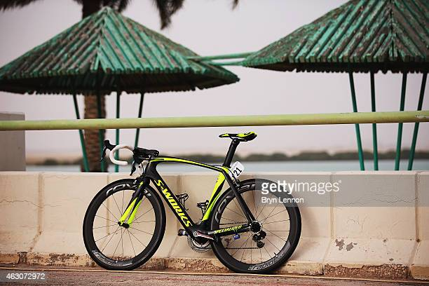 Peter Sagan's bike is seen after stage two of the 2015 Tour of Qatar a 187km stage from Al Wakra to Al Khor Corniche on February 9 2015 in Al Khor...