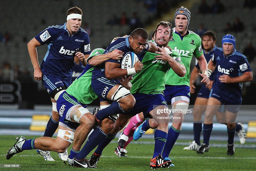 Peter Saili of the blues charges forward during the round eight Super Rugby match between the Blues and the Highlanders at Eden Park on April 5, 2013 in Auckland, New Zealand.