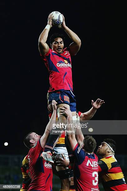 Peter Samu of Tasman wins lineout ball during the round one ITM Cup match between Waikato and Tasman at Waikato Stadium on August 14 2015 in Hamilton...