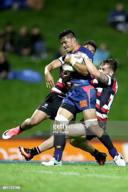 Peter Samu of the Tasman Makos is tackled during the round nine Mitre 10 Cup match between Counties Manukau and Tasman at ECOLight Stadium on October...