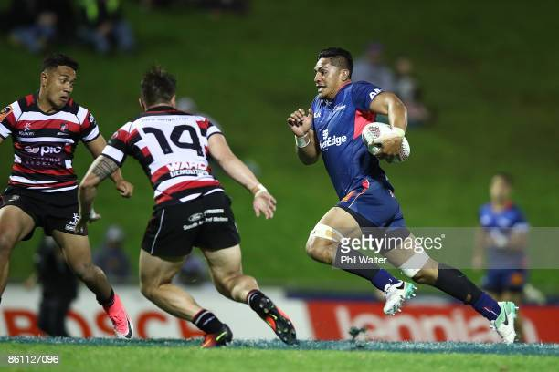 Peter Samu of the Tasman Makos makes a break during the round nine Mitre 10 Cup match between Counties Manukau and Tasman at ECOLight Stadium on...