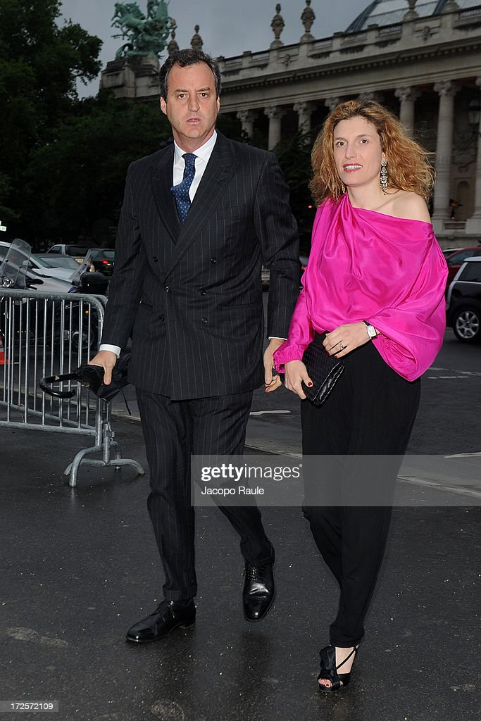 Peter Sartogo and Martina Mondadori arrive at 'The Glory Of Water' : Karl Lagerfeld's Exhibition Dinner at Fendi on July 3, 2013 in Paris, France.