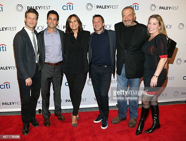 Peter Scanavino Danny Pino Mariska Hargitay Raul Esparza Dick Wolf and Julie Martin attend 2nd Annual Paleyfest New York Presents 'Law Order SVU' at...