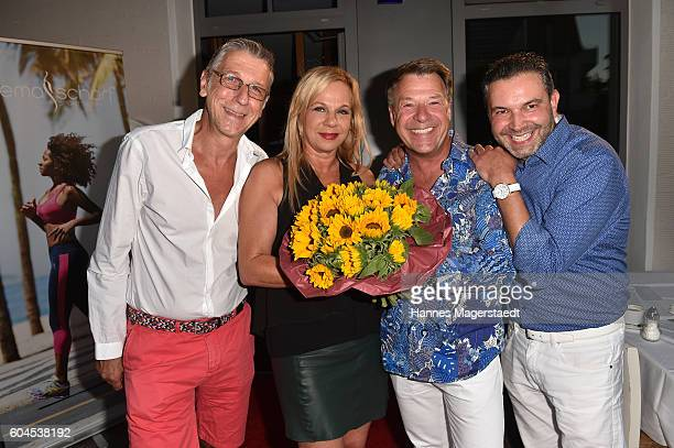 Peter Schaefer Birgit FischerHoeper Patrick Lindner and Pedro da Silva during the My Big Fat Greek cocktail on September 13 2016 in Munich Germany