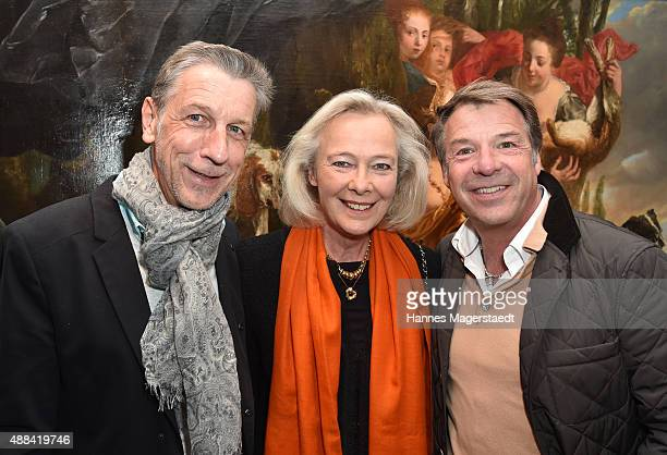 Peter Schaefer Prinzessin Uschi zu Hohenlohe and Patrick Lindner attend the 'Dorotheum Munich Hosts Cocktail Reception' on September 15 2015 in...