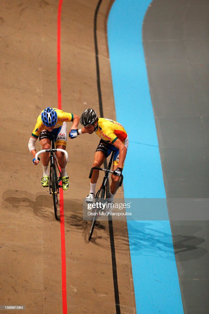 Peter Schep and Wim Stroetinga of Netherlands compete in the Time Trial during the Rotterdam 6 Day Cycling at Ahoy Rotterdam on January 4, 2013 in Rotterdam, Netherlands.