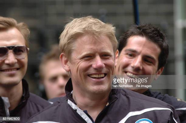 Peter Schmeichel arrives with the Rest of thew World Soccer Aid team for a reception at No 10 Downing Street London