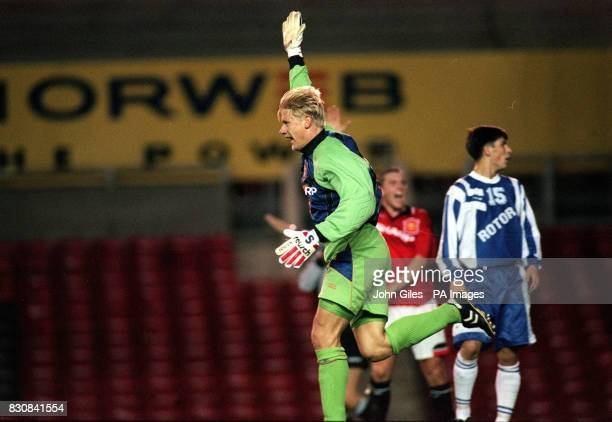 Peter Schmeichel celebrates the goal he scored for Manchester United against Rotor Volgograd