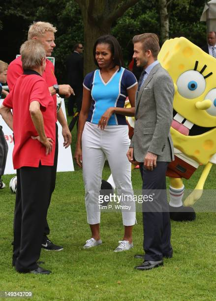 Peter Schmeichel First Lady of the United States Michelle Obama David Beckham and Nickelodeon's Spongebob Squarepants celebrate Nickelodeon joins...