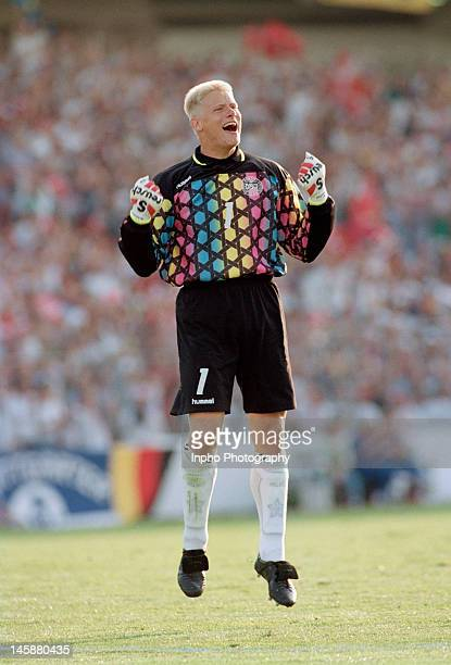 Peter Schmeichel of Denmark celebrates during the UEFA European Championships 1992 Final between Denmark and Germany held at the Ullevi Stadium on...
