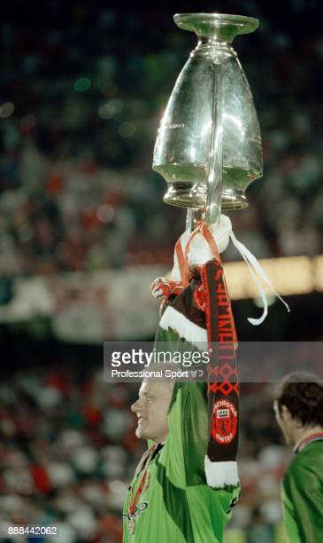Peter Schmeichel of Manchester United lifts the European Cup after victory in the UEFA Champions League Final between Manchester United and Bayern...