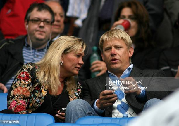 Peter Schmeichel with his wife Bente in the stands