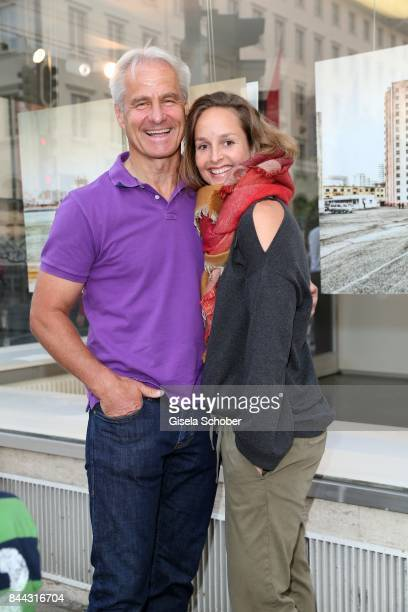 Peter Schmuck and Lara Joy Koerner during the 'Michael von Hassel' Exhibition Opening at 'Galerie an der Pinakothek der Moderne' on September 8 2017...