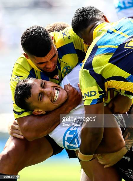 Peter Schuster of Manly is tackled by George Jennings of the Eels during the 2017 Auckland Nines match between Manly Sea Eagles and the Parramatta...