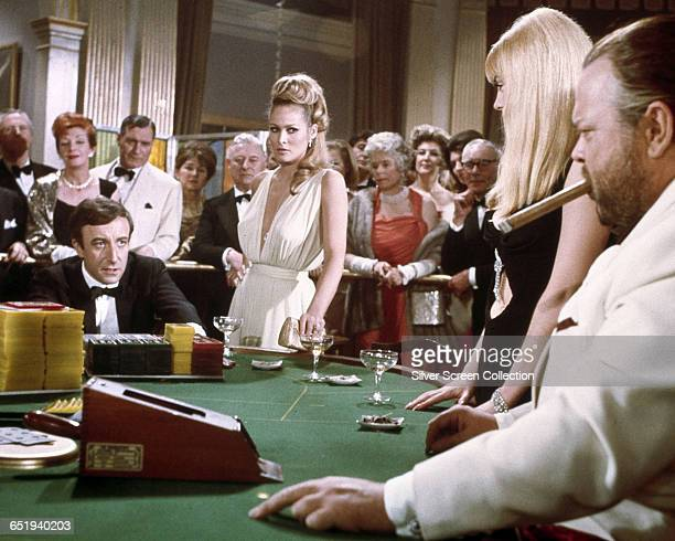 Peter Sellers as Evelyn Tremble/James Bond/007 Ursula Andress as Vesper Lynd/007 and Orson Welles as Le Chiffre in the James Bond spoof 'Casino...
