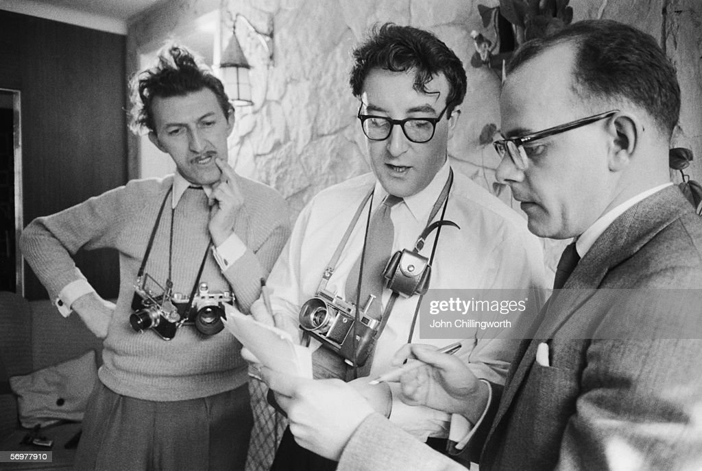 Peter Sellers (1925 - 1980) at his home in Muswell Hill, London, with Picture Post journalist Bob Muller and photographer <a gi-track='captionPersonalityLinkClicked' href=/galleries/search?phrase=Thurston+Hopkins&family=editorial&specificpeople=839820 ng-click='$event.stopPropagation()'>Thurston Hopkins</a>, 17th April 1956. Original publication: Picture Post - 8452 - Peter Sellers - unpub.