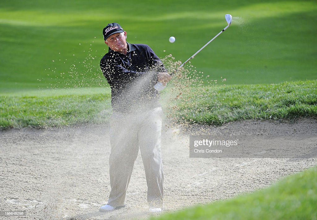 Peter Senior of Australia hits from a bunker on the 8th hole during the third round of the Charles Schwab Cup Championship at TPC Harding Park on November 2, 2013 in San Francisco, California.