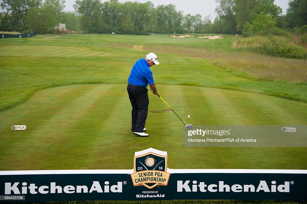 <a gi-track='captionPersonalityLinkClicked' href=/galleries/search?phrase=Peter+Senior&family=editorial&specificpeople=179459 ng-click='$event.stopPropagation()'>Peter Senior</a> of Australia hits the first shot of the Senior PGA Championship during the first round for the 77th Senior PGA Championship presented by KitchenAid held at Harbor Shores Golf Club on May 26, 2016 in Benton Harbor, Michigan.