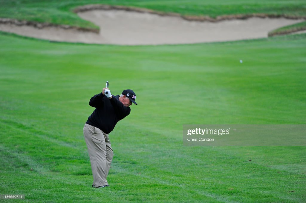 Peter Senior of Australia hits to the 4th green during the third round of the Charles Schwab Cup Championship at TPC Harding Park on November 2, 2013 in San Francisco, California.