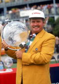 Peter Senior of Australia holds aloft the trophy after winning the Australian Masters Golf Tournament held at the Huntingdale Golf Club 1995 in...