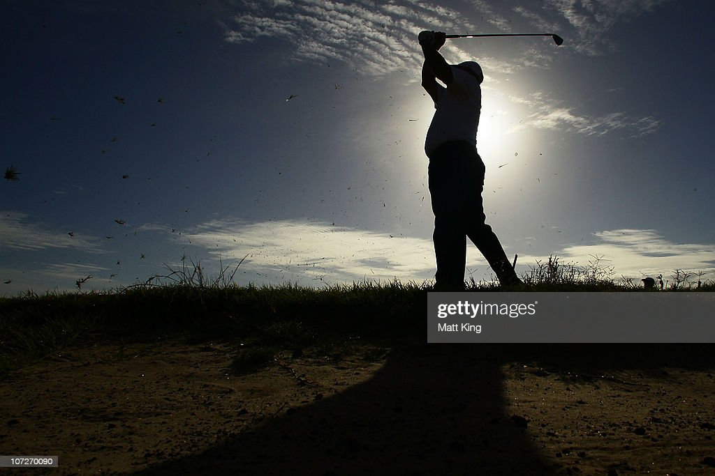 <a gi-track='captionPersonalityLinkClicked' href=/galleries/search?phrase=Peter+Senior&family=editorial&specificpeople=179459 ng-click='$event.stopPropagation()'>Peter Senior</a> of Australia plays from the rough on the 11th hole during day two of the Australia Open at The Lakes Golf Club on December 3, 2010 in Sydney, Australia.