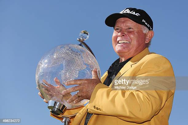 Peter Senior of Australia poses with the trophy after winning during the final round of the 2015 Australian Masters at Huntingdale Golf Club on...