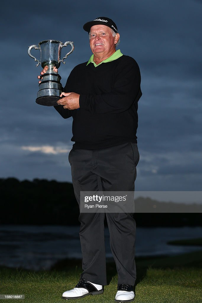 Peter Senior of Australia poses with the trophy after winning the 2012 Australian Open at The Lakes Golf Club on December 9, 2012 in Sydney, Australia.