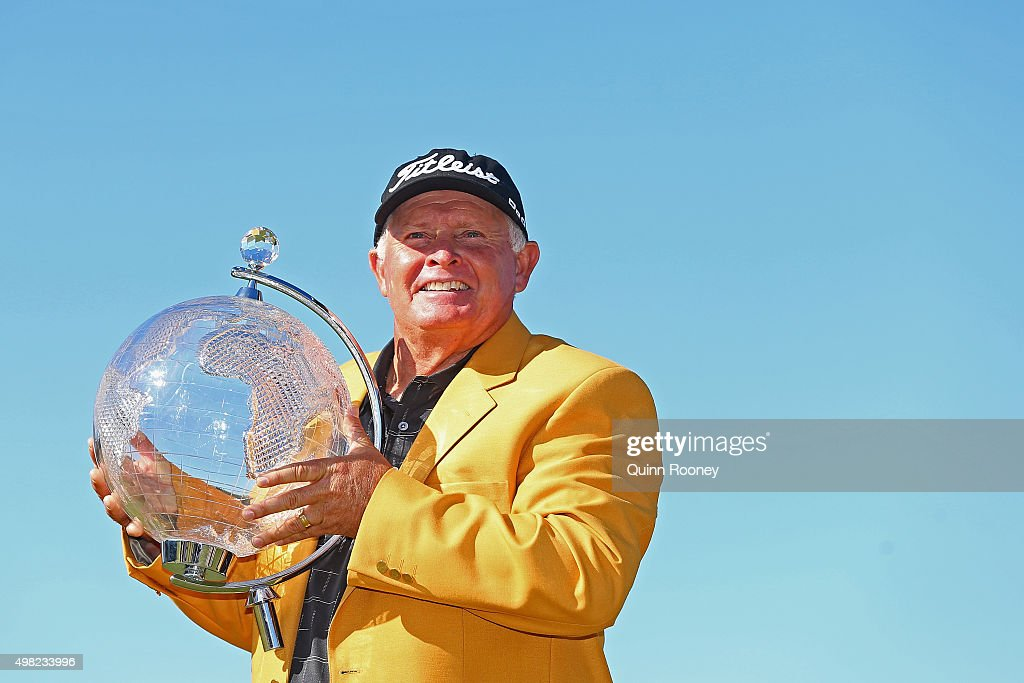 <a gi-track='captionPersonalityLinkClicked' href=/galleries/search?phrase=Peter+Senior&family=editorial&specificpeople=179459 ng-click='$event.stopPropagation()'>Peter Senior</a> of Australia poses with the trophy during the final round of the 2015 Australian Masters at Huntingdale Golf Club on November 22, 2015 in Melbourne, Australia.