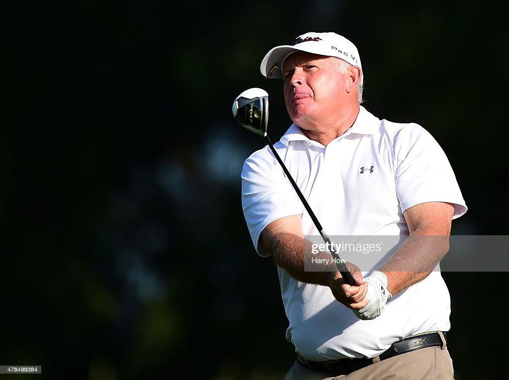 <a gi-track='captionPersonalityLinkClicked' href=/galleries/search?phrase=Peter+Senior&family=editorial&specificpeople=179459 ng-click='$event.stopPropagation()'>Peter Senior</a> of Australia reacts to his tee shot on the 11th hole during round one of the U.S. Senior Open Championship at the Del Paso Country Club on June 25, 2015 in Sacramento, California.