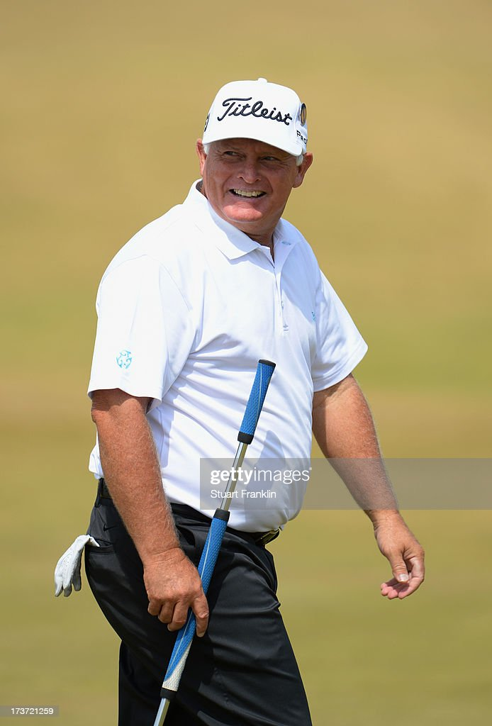 Peter Senior of Australia smiles ahead of the 142nd Open Championship at Muirfield on July 17, 2013 in Gullane, Scotland.